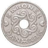 5 danish krone coin. Isolated on white background Stock Photo