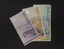 Danish Krone (DKK) notes, currency of Denmark (DK) Royalty Free Stock Images