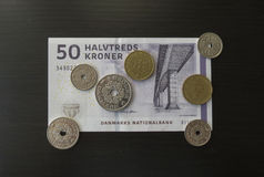 Danish Krone notes and coins, Denmark Royalty Free Stock Images