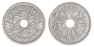 1 danish kroner coin Royalty Free Stock Images