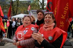 DANISH LABOUR UNIONS SUPPORT RALY AT CONCILIATION OFFICE. Copenhagen/Denmark 27 April 2018_ .All danish labour unions members rally in support for their unions Royalty Free Stock Photo