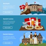 Danish Landmarks Flat Style Banners Set Royalty Free Stock Photos