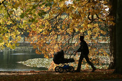Danish landscape. Autumn in the countryside in denmark with amn and child carriage royalty free stock photo