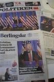DANISH MEDIA HIGH LIGHT ON PRESIDENET ELCTIO TRUMP. Copenhagen / Denmark_  12 January 2017 - Danish media high lught press conference of USA President Elect Royalty Free Stock Images