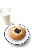 Danish and Milk. Cream cheese danish and a glass of milk stock photos