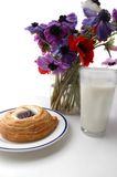 Danish and Milk. Breakfast of cream cheese danish and a glass of milk Royalty Free Stock Image