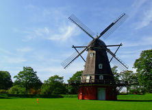 Danish Mill. This is wooden mill which is in large park in Copenhagen Stock Photography