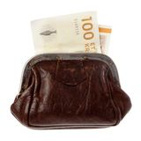 Danish money in a purse. A brown purse with a Danish one hundred kroner bill isolated on white background Royalty Free Stock Image