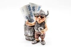Danish Money with Viking toy Royalty Free Stock Photo