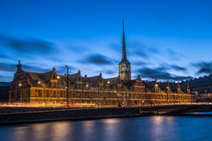 Danish old parliament building. Long exposure of danish old parliament building in the blue hour Royalty Free Stock Photography