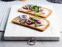 Danish open sandwich smorrebrod with herring Royalty Free Stock Photo
