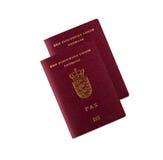 Danish passport. This is two danish passports, on a white background stock image