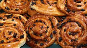 Danish Pastries. A Display of Raisin Brioche Sweet Danish Pastries Stock Photo