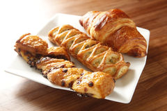 Danish pastries. On the dish Stock Photos
