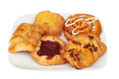 Danish Pastries On A Plate Stock Images