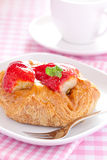 Danish pastry. Fresh danish pastry with strawberries Stock Photos