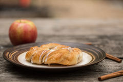Danish Pastry With Apple and Cinnamon Sticks Stock Photo