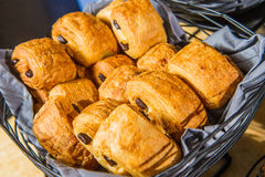 Danish pastry. In the basket on buffet table Royalty Free Stock Photography