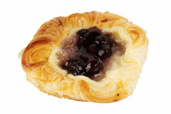 Danish pastry with blueberries jam. Isolated on white Royalty Free Stock Photography