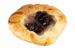 Danish pastry with blueberries jam. Isolated on white Royalty Free Stock Images