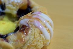 Danish pastry with blueberry and custard royalty free stock photos