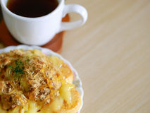 Danish pastry and a cup of tea. For background Stock Images