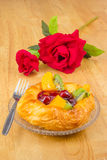 Danish pastry with fruits Royalty Free Stock Images