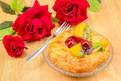 Danish pastry with fruits Stock Photography