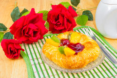 Danish pastry with fruits Royalty Free Stock Photos