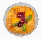 Danish pastry with fruits, isolated Royalty Free Stock Photos