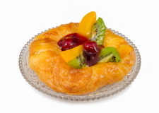 Danish pastry with fruits, isolated Royalty Free Stock Photo
