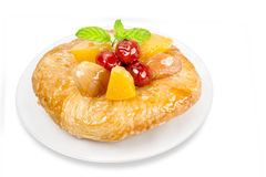 Danish pastry with fruits isolated on white background,clipping Royalty Free Stock Photography