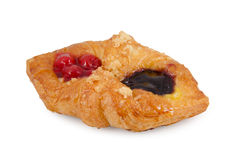 Danish pastry with fruits on white background Royalty Free Stock Photos