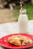 Danish Pastry and Glass of Milk Royalty Free Stock Photography