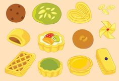 Danish, Pie and Cookies Vector Icon and Illustration. For many purpose such as menu book, food book cover and illustration, blog, website, textile, note book Vector Illustration