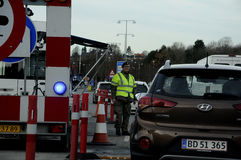 DANISH POLICE ON BORDER CONTROL_ KRUSAA. Krusaa/krus� / Denmark/Germany_ Danish police at Danish _germany border control in othr words passport control whih stock photos