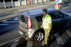 DANISH POLICE AT BORDER CONTROL RODBY. Rodby / Denmark_ 12th. November 2016 _ Danish police at border control transports comming from Puttgarden Germany police royalty free stock photo