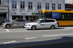 DANISH POLICE CAR IN ACTION Royalty Free Stock Photos