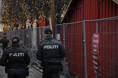 DANISH POLICE CONTROL CHRISTMAS MARKET Royalty Free Stock Photo