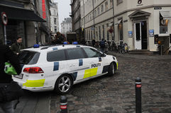 DANISH POLICE CONTROL CHRISTMAS MARKET Stock Images