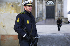 DANISH POLICE ON DUTY TO PROTACT QEEN OF DENMARK Stock Image