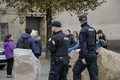 DANISH POLICE OFFICERS_AND ANNUAL BUDGET Stock Photos