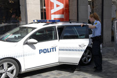 Danish police officers  made arrest Royalty Free Stock Photography
