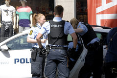 Danish police officers  made arrest Stock Photos