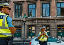 Danish police officers royalty free stock images