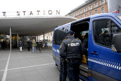 DANISH POLICE T NORREPORT TRAINSTATION Stock Photo