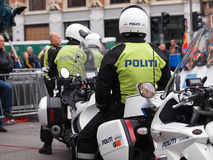 Danish policemen on motorcycle Stock Images