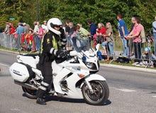 Danish policemen on motorcycle Stock Photos