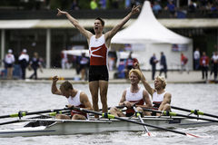 Danish rowing victory. Bosbaan, Amsterdam, Netherlands - 23 July 2011:  The Danish Lightweight Men's Quadruple Sculls win the gold medal at the world Stock Photos