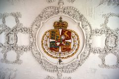 Danish Royal Crest at the Rosenborg Castle. Danish Royal Crest on the ceiling of the Rosenborg Castle Royalty Free Stock Photography